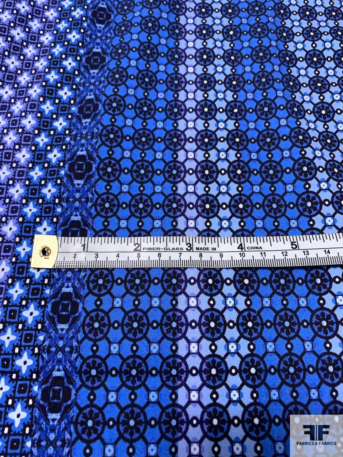 Bandana-Like Printed Cotton Sateen - Shades of Blue and Purple