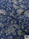 Sunflower and Floral Printed Silk Crepe de Chine - Dark Blue / Olive Green