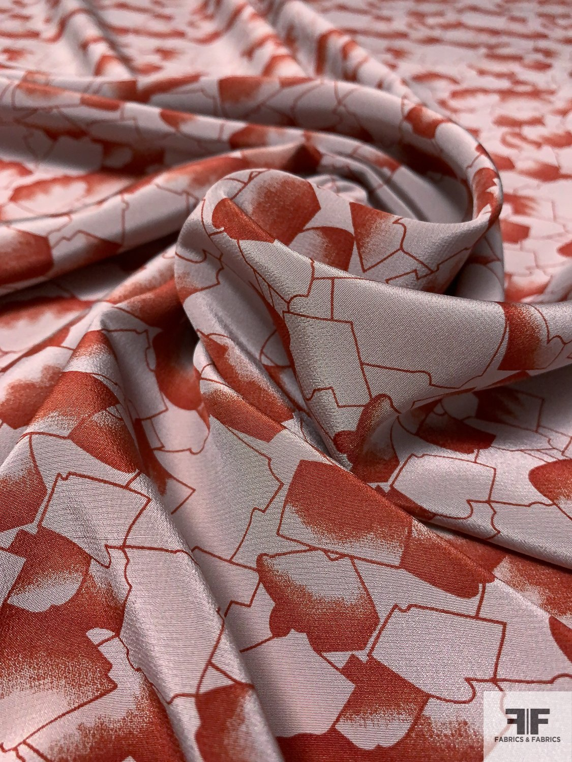 Abstract Puzzle-Like Shapes Printed Silk Crepe de Chine - Brick / Grey-Sand