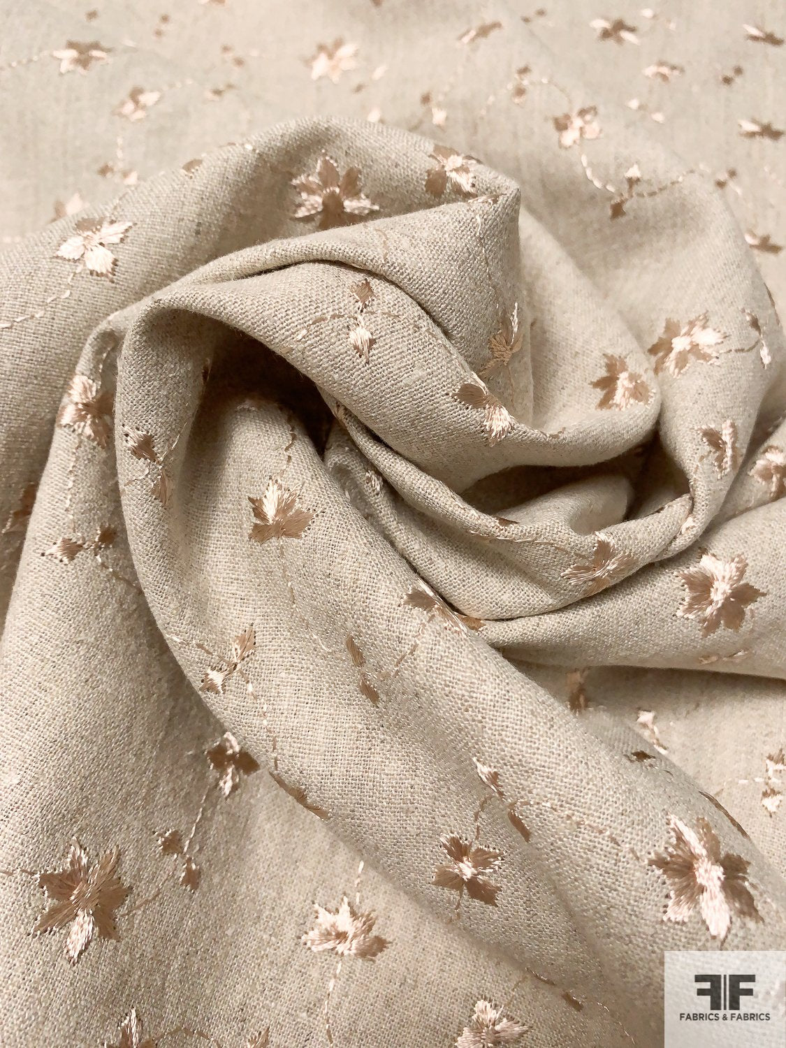 Ditsy Floral Embroidered Linen - Oatmeal / Sand