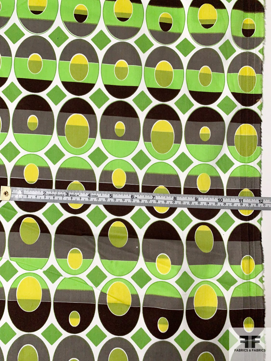 Ethnic Geometric Printed Stretch Cotton Sateen - Brown / Chartreuse / Kiwi