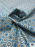 Art Deco Circles Printed Stretch Cotton Poplin - Blue / Light Olive Green / Off-White