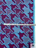 Large-Scale Houndstooth Printed Cotton Sateen - Ocean Blue / Wine Red