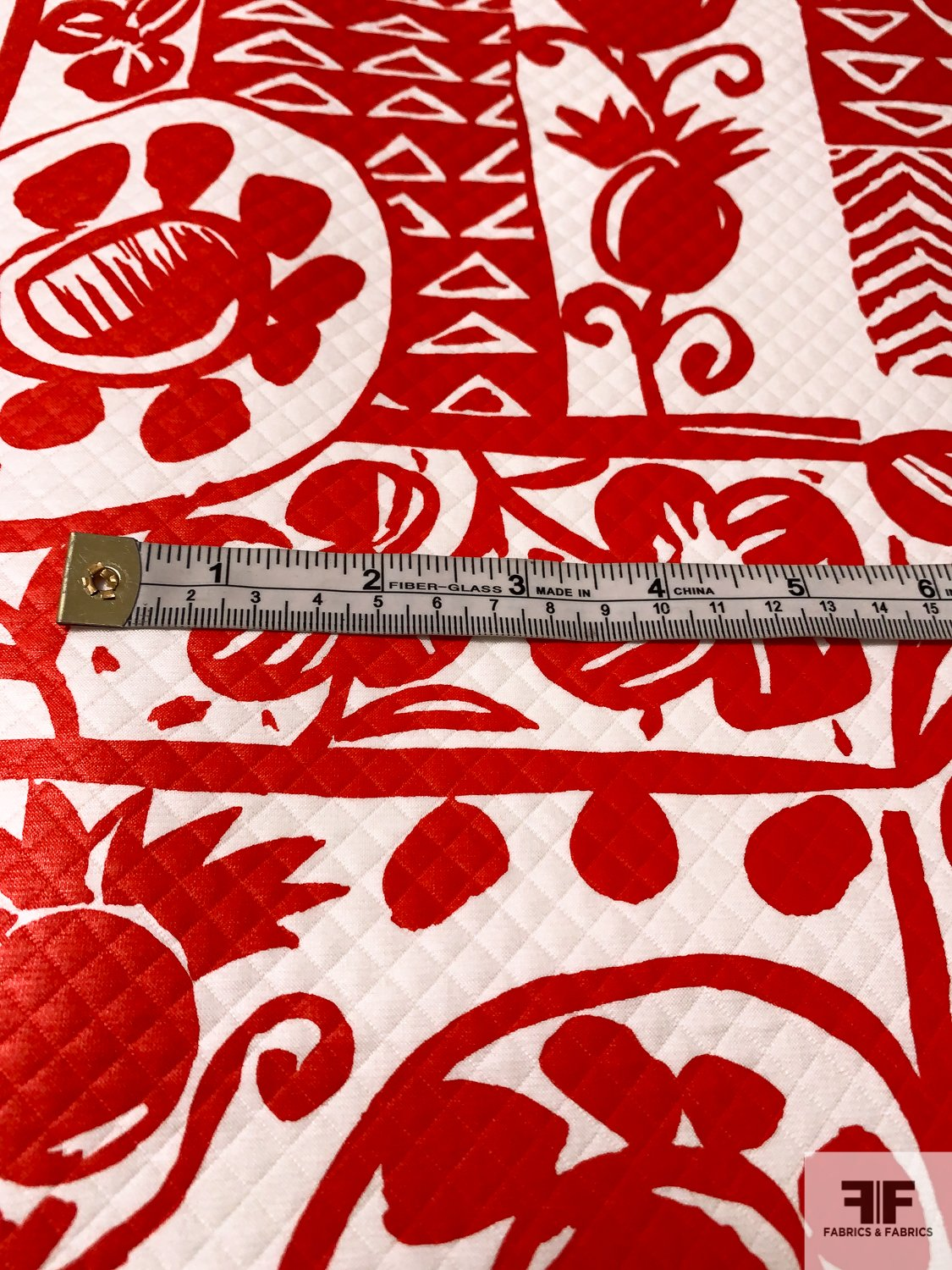Made in France Bucol Abstract Printed Cotton Sateen Pique - Red / White