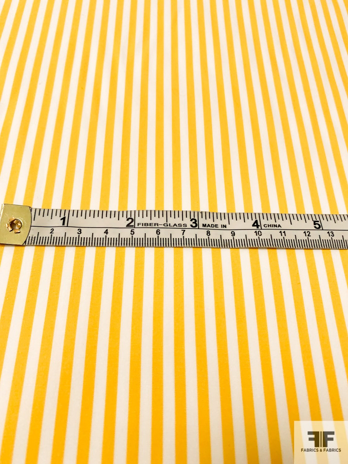 Vertical Striped Yarn-Dyed Cotton Shirting - Bold Yellow / White