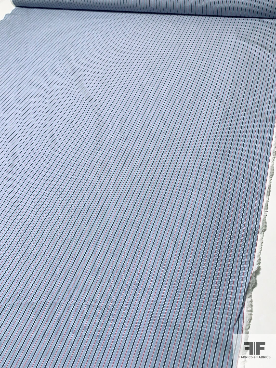 Vertical Striped Cotton Shirting - Blue / Red / White