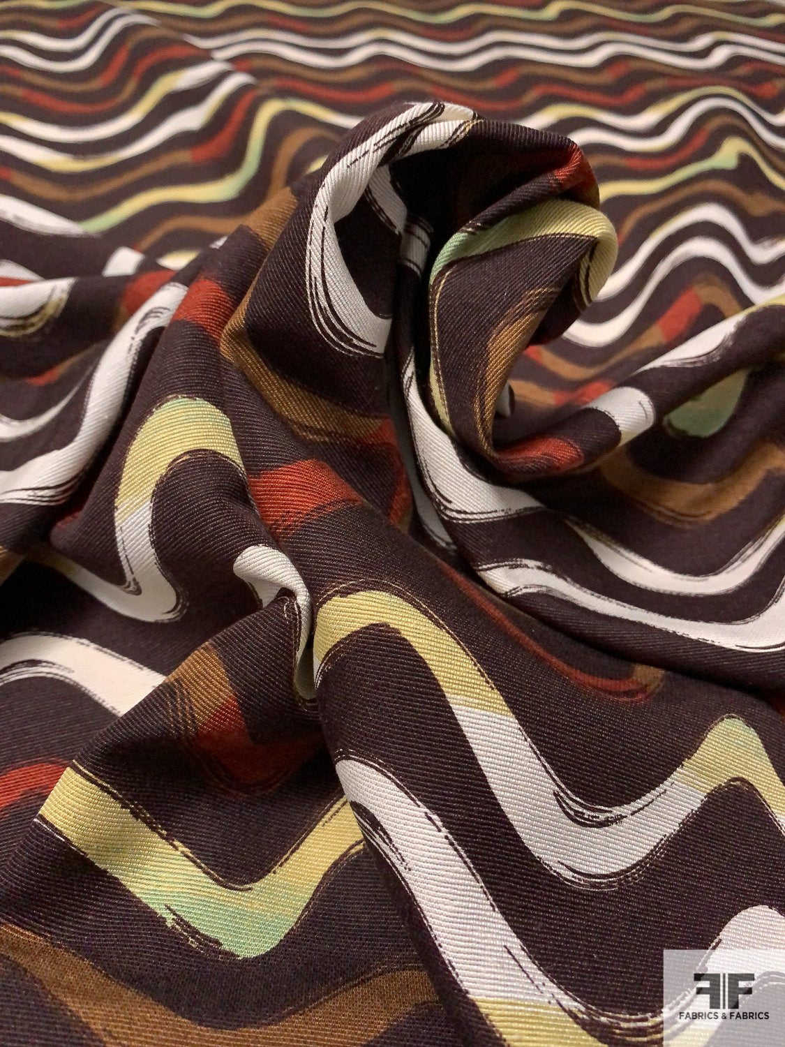 Wavy Stripes Printed Soft Silk Faille - Brown / Rust / Tan / Sage