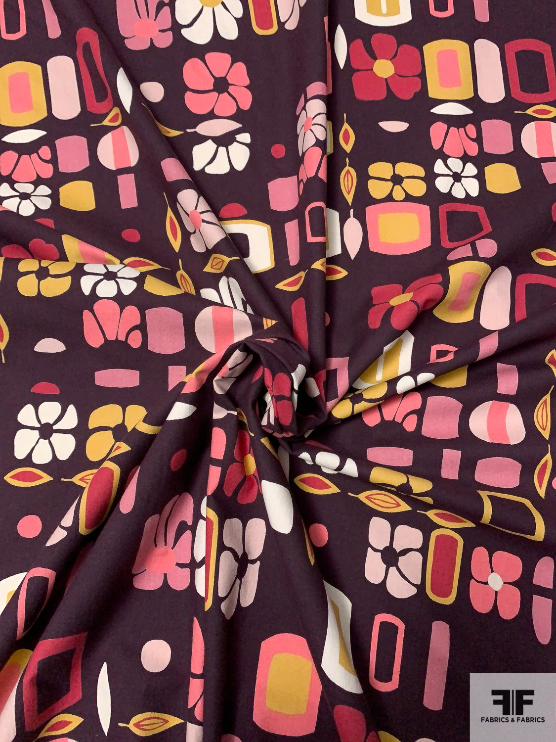 Made in Germany Groovy Floral and Geometric Printed Laundered Cotton Lawn - Brown / Blue / Pink / Rose