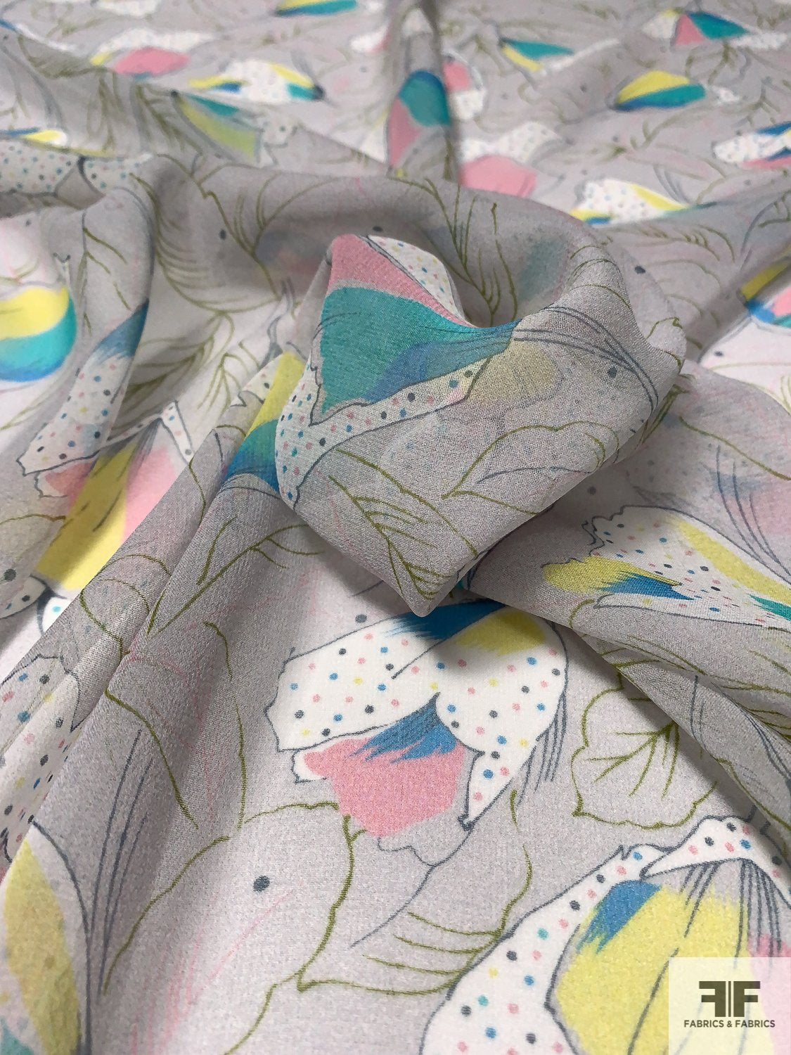 Playful Petals and Leaves Printed Silk Chiffon - Grey / Pink / Aqua / Yellow