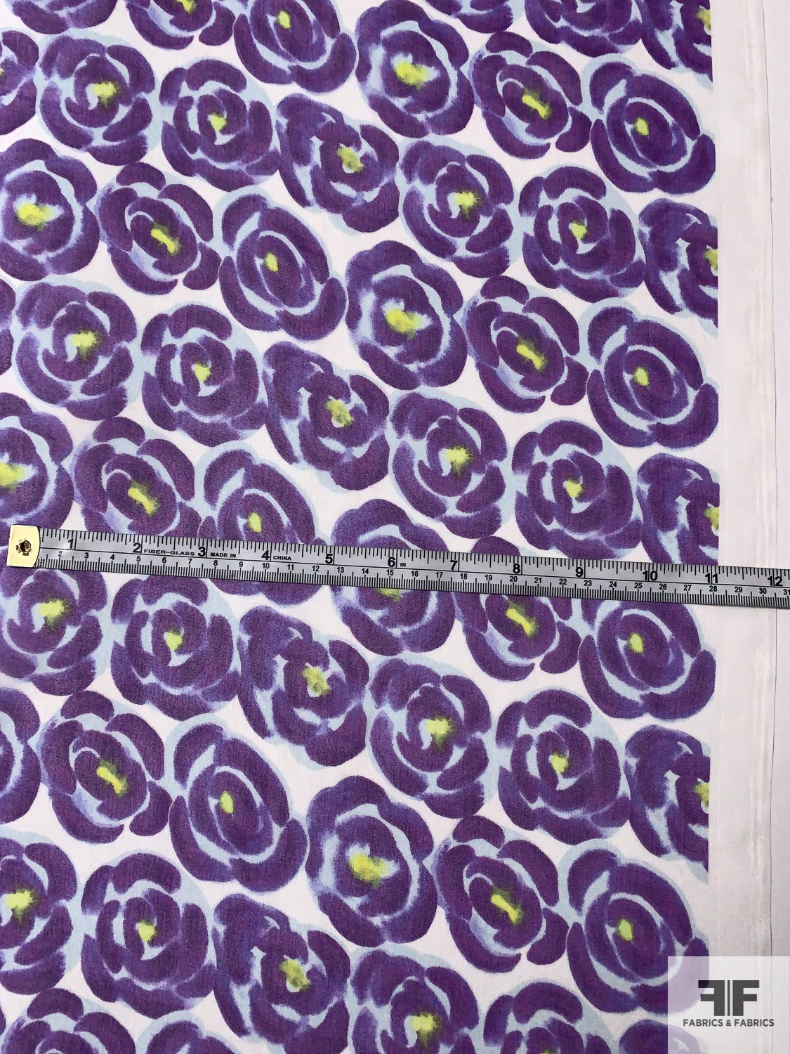 Painterly Floral Printed Silk Chiffon - Purple / Faint Blue / Chartreuse / White