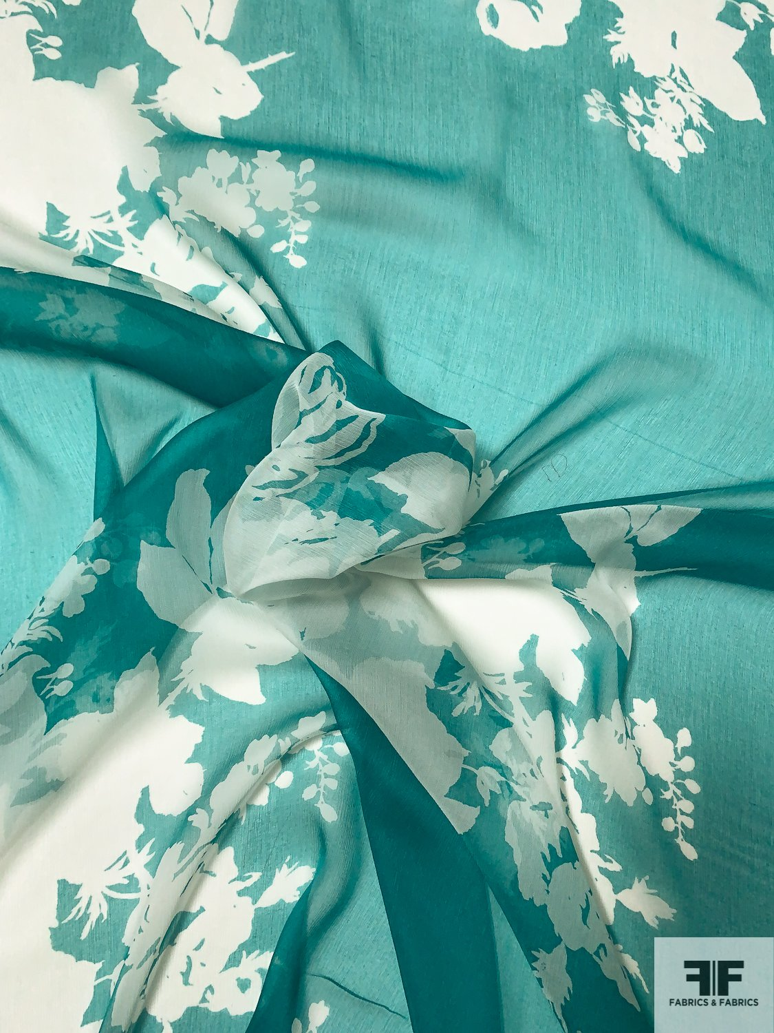 Large-Scale Floral Silhouette Printed Silk Chiffon - Ocean Green / Off-White