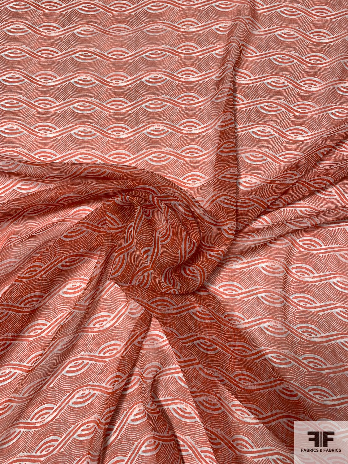 Wavy Art Deco Printed Silk Chiffon - Blood Orange / Off-White