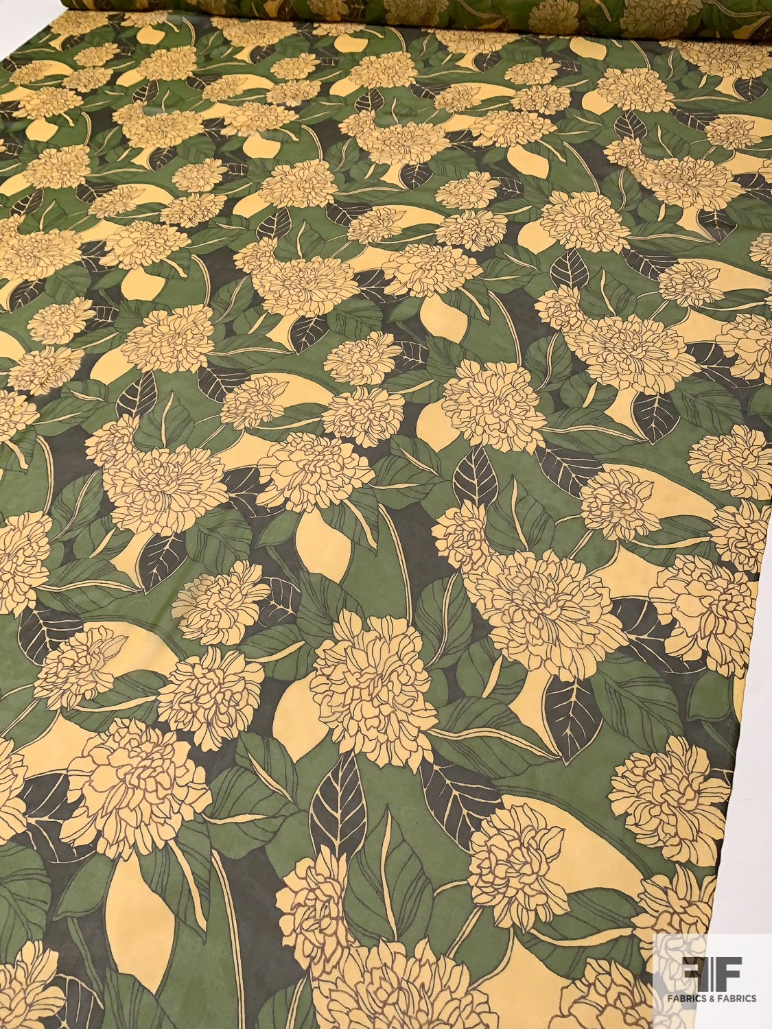 Rainforest Floral Printed Silk Chiffon - Yellow / Olive Green / Forest Green