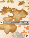 Autumn Leaves Printed Silk Chiffon - Greens / Browns / Orange / Off-White