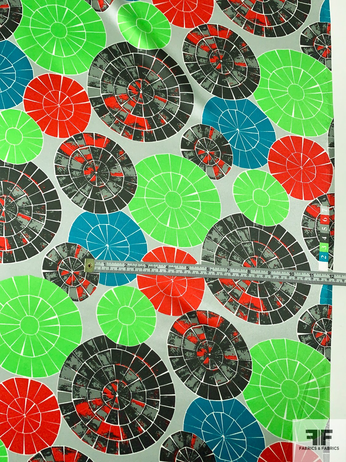 Dart Board Printed Silk Charmeuse - Green / Turquoise / Red / Greys