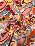 Pucci-esque Floral Printed Silk Charmeuse - Pink / Seafoam / Yellow / Red / Orange