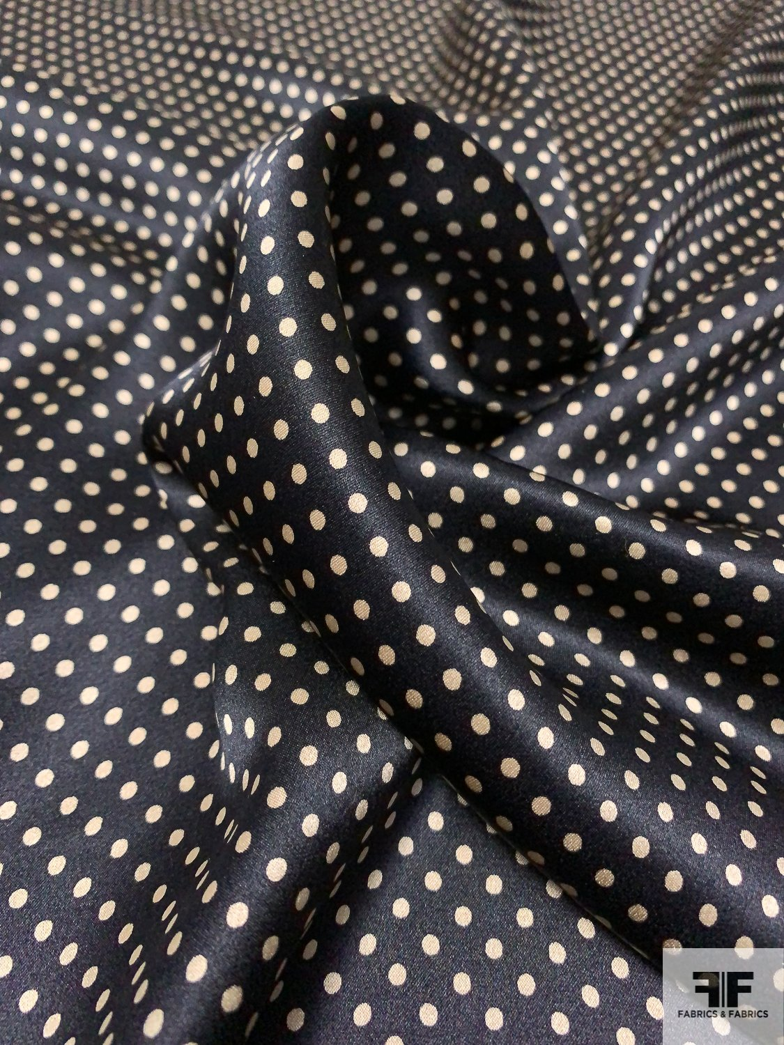 Pin Dot Printed Silk Charmeuse - Black / Beige