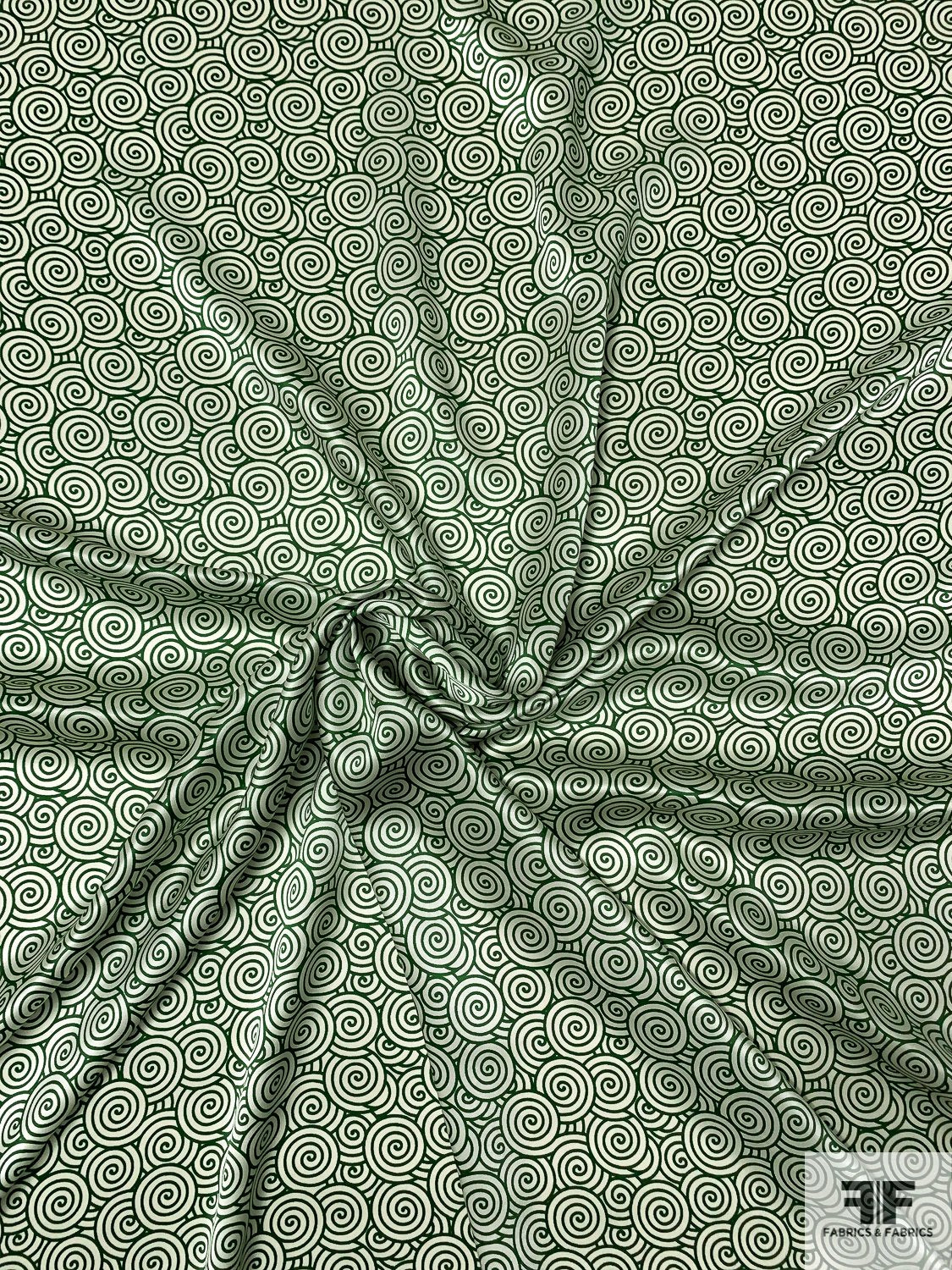 Art Deco Snail-Swirls Printed Silk Charmeuse - Green / Off-White