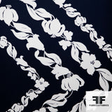 Floral Chevron Printed Silk Crepe De Chine Panel - Navy/White