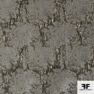 Metallic Abstract Brocade - Silver/Gold/Grey