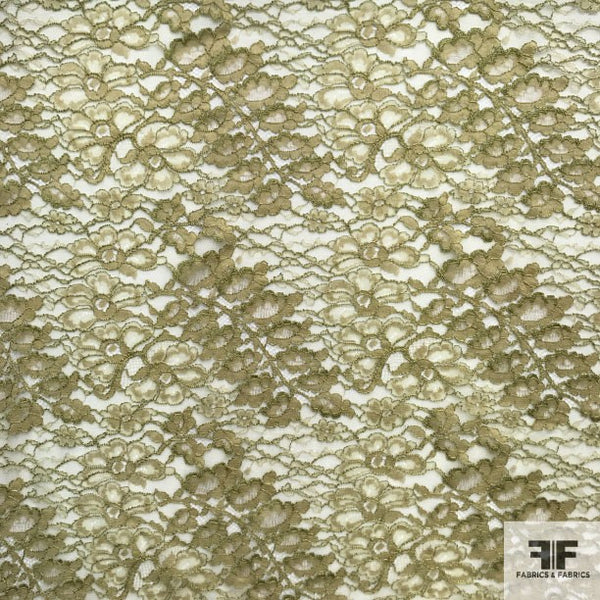 Double Scalloped Leavers Lace - Green - Fabrics & Fabrics NY