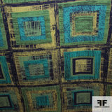 Square Geometric Silk Printed Georgette - Green/Yellow/Black