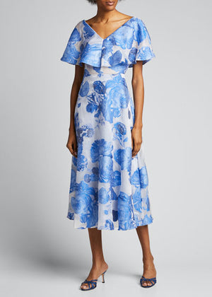 Italian Lela Rose Oversize Floral Fil Coupe Organza - Cornflower Blue / White