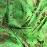 Tropical Floral Metallic Brocade - Neon Green/Gold - Fabrics & Fabrics