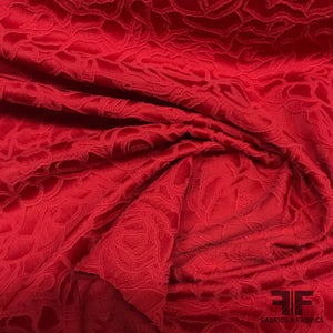 Raised Surface Roses Textured Brocade - Red - Fabrics & Fabrics