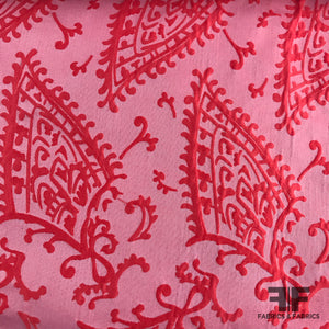 Italian Abstract Paisley Woven Brocade - Pink/Red - Fabrics & Fabrics