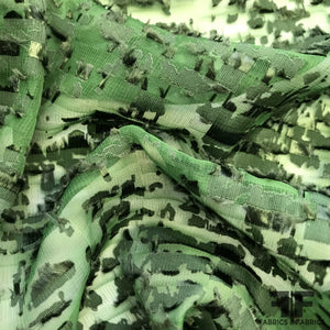 Abstract Burnout Poly Chiffon - Green