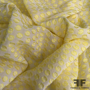 Polka Dot Burnout Silk Chiffon - Yellow/White