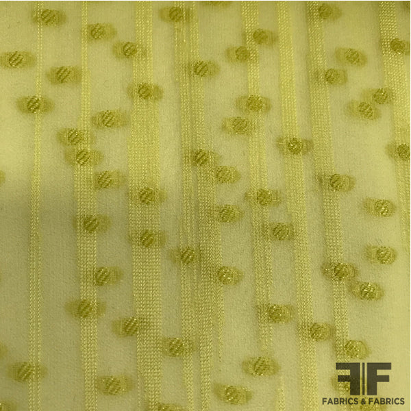 Italian Stripe and Polka Dot Burnout Silk - Yellow/Green