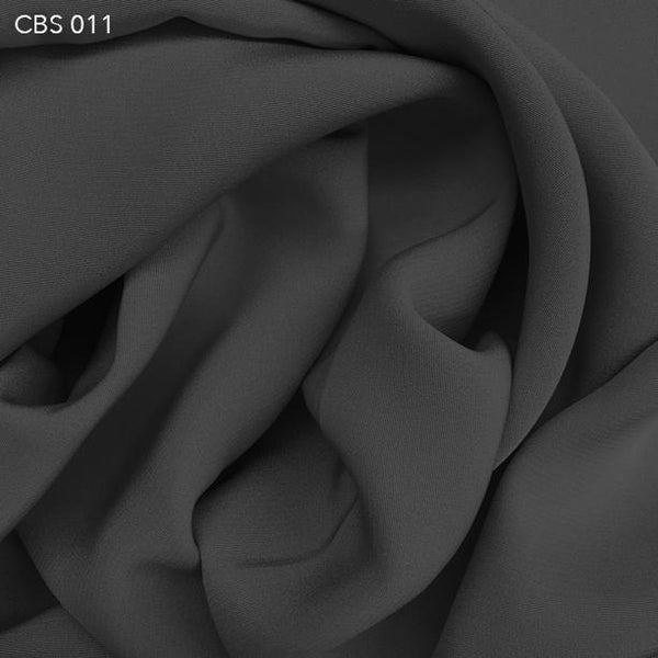 Steel Grey Silk Crepe Back Satin - Fabrics & Fabrics
