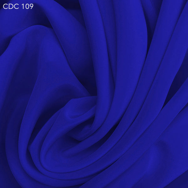 Silk Crepe de Chine - Royal Blue - Fabrics & Fabrics