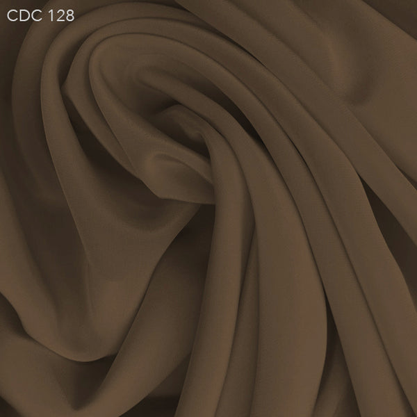 Silk Crepe de Chine - Chocolate Powder - Fabrics & Fabrics