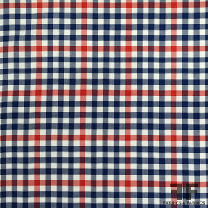 Gingham Cotton Shirting - Blue/Red/White - Fabrics & Fabrics