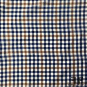 Gingham Check Cotton Shirting - Navy/White/Blue