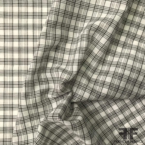 Plaid Cotton Shirting - Black/White - Fabrics & Fabrics