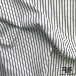 Striped Cotton Seersucker Shirting - Blue/White