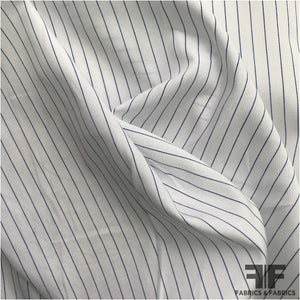 Pinstripe Cotton Shirting - Blue/White