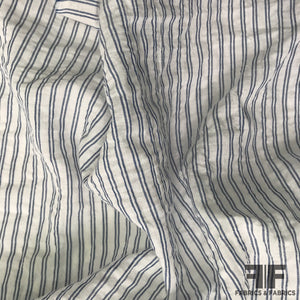 Crinkled Cotton Shirting - Blue/White - Fabrics & Fabrics NY