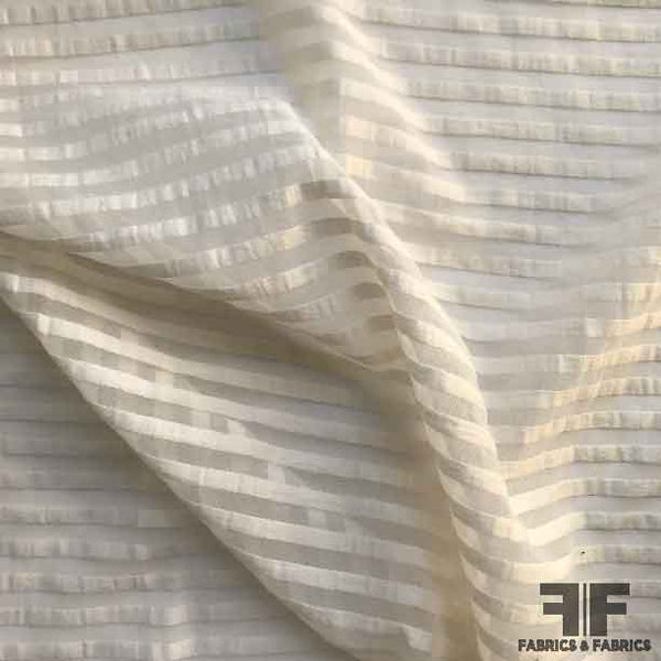 Striped Cotton Organdy Shirting - Ivory