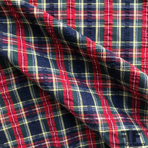 Plaid Seersucker Cotton Shirting - Multicolor - Fabrics & Fabrics