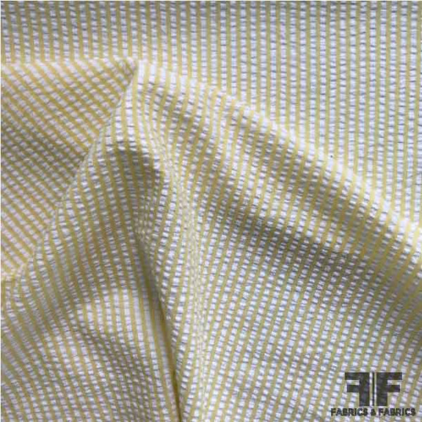 Striped Seersucker Cotton Shirting - Yellow/White