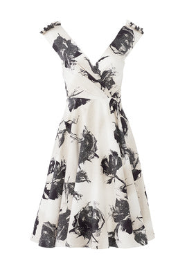 Christian Siriano Large-Scale Floral Stretch Printed Cotton Twill - Black/Beige