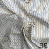 Striped & Embroidered Cotton Shirting - Beige/Gold