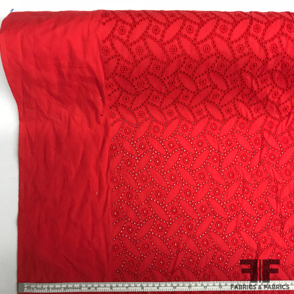 Geometric Cotton Eyelet - Red