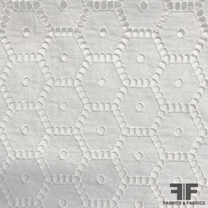 Hexagon Embroidered Cotton Eyelet - White