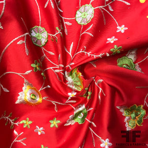 Bold Floral Embroidered Cotton - Red